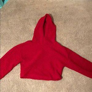 red fluffy crop sweatshirt